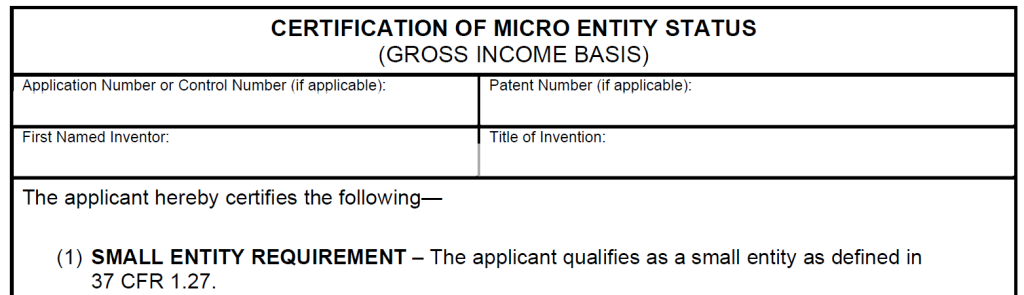 Patent Office Small Entity Form