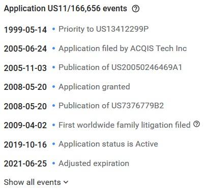 Google Patents Application Events