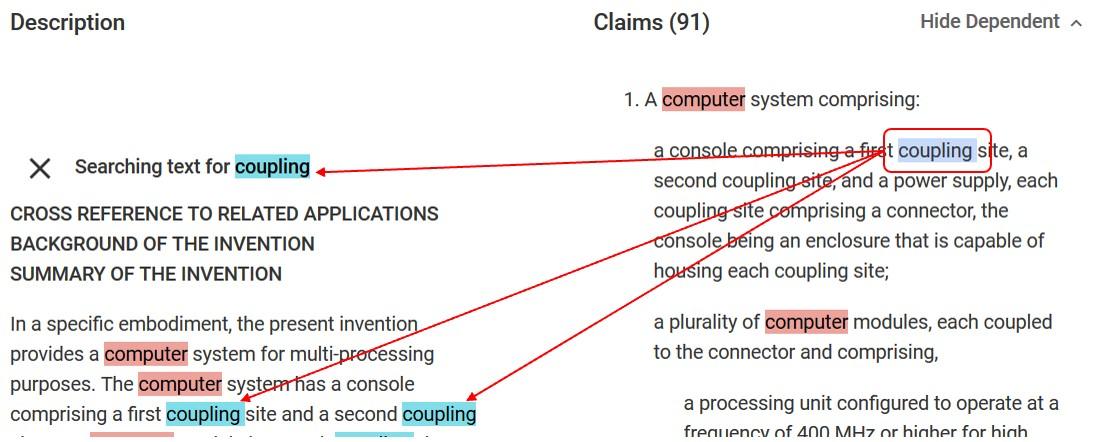 Google Patents Claim Term Highlights