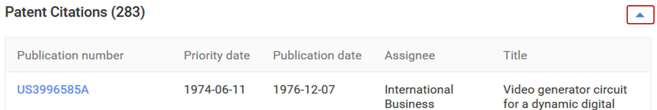 Google Patents Document Data Box Arrow