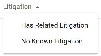 Google Patents Litigation Selection Box