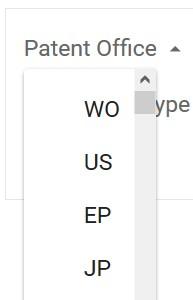 Google Patents Patent Office Selection Box