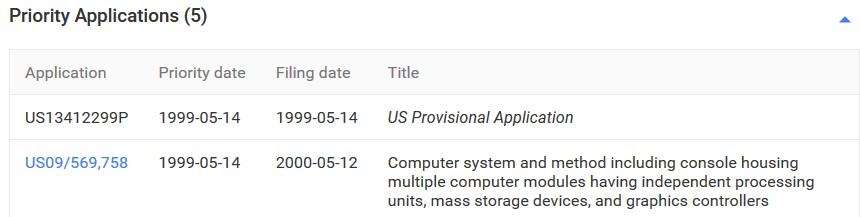 Google Patents Priority Application Section