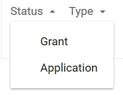 Google patents Status Selection Box
