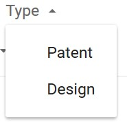 Google Patents Type Selection Box