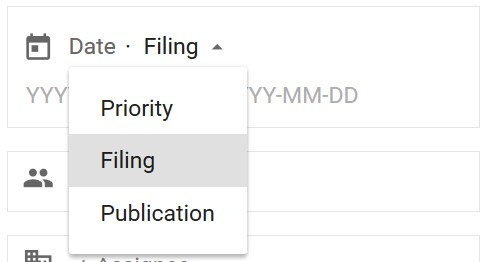 Google Patents Filing Date Search