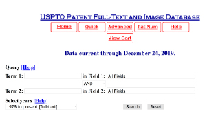 Patent search at the United States Patent and Trademark website. This search is a Boolean Patent search of US patents.